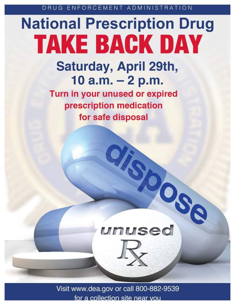 National Prescription Drug Take-Back Day set for April 29th