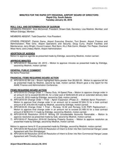 2016 Airport Board Of Directors Minutes Rapid City South Dakota
