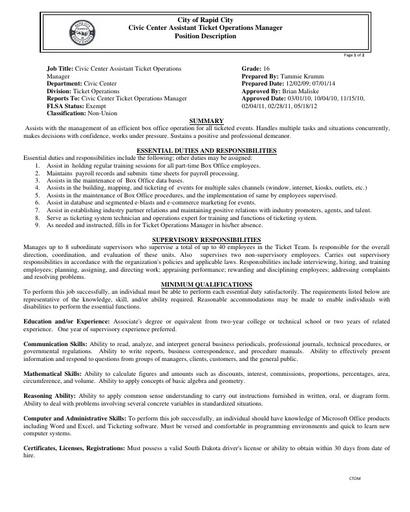 Job Descriptions | Rapid City South Dakota