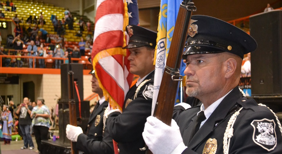 The RCPD Honor Guard represents the RCPD at the 2015 BH Pow Wow