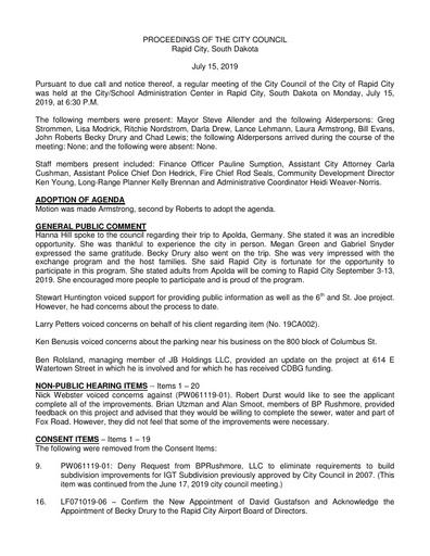 2019 07 15 City Council Minutes