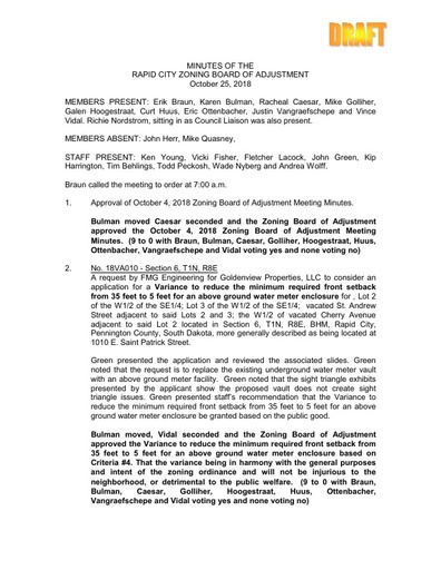2018 10 25 ZBOA and Planning Commission Minutes