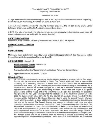 11/27/2019 Legal and Finance Committee Minutes