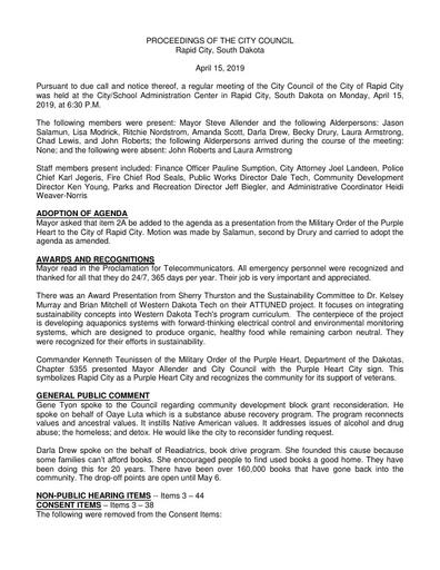 2019 04 15 City Council Minutes