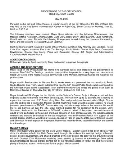 2019 05 20 City Council Minutes