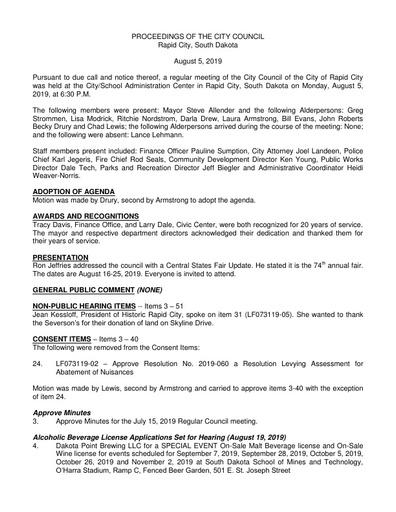 2019 08 05 City Council Minutes