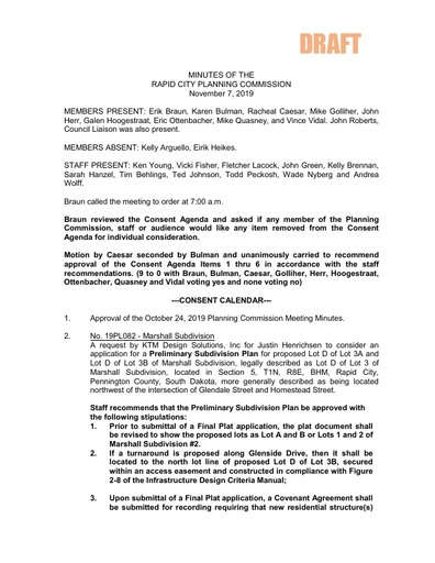 2019 11 07 Planning Commission Minutes