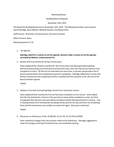 2019 11 12 Building Board Meeting Minutes