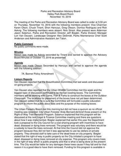 Parks & Rec Advisory Board Minutes Nov 10, 2016
