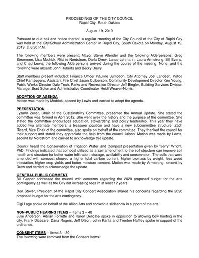 2019 08 19 City Council Minutes