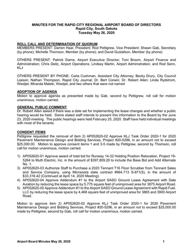 20200526 Airport Board Minutes
