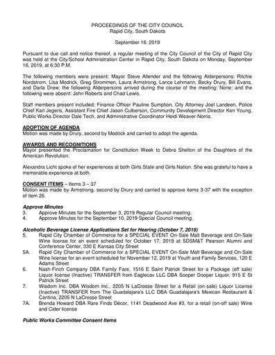 2019 09 16 City Council Minutes