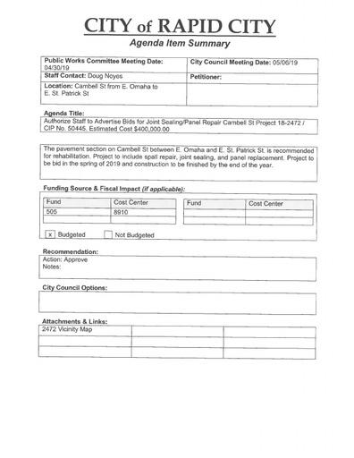 Meeting Agenda Item Attachments | Rapid City South Dakota