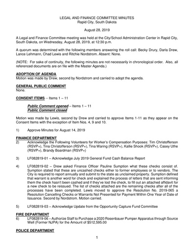 8/28/2019 Legal and Finance Committee Minutes
