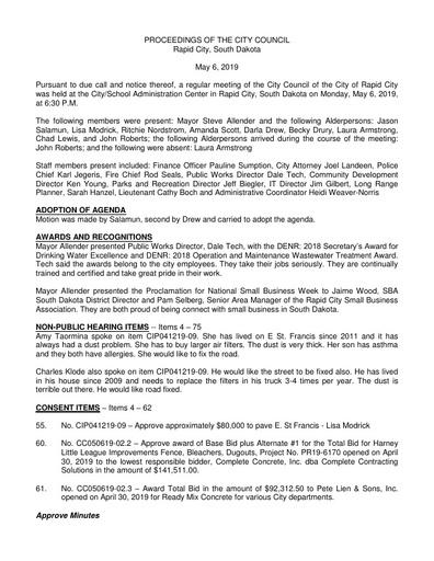 2019 05 06 City Council Minutes