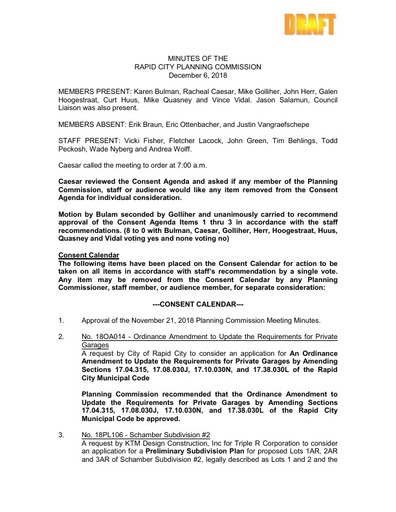 2018 12 06 Planning Commission Minutes