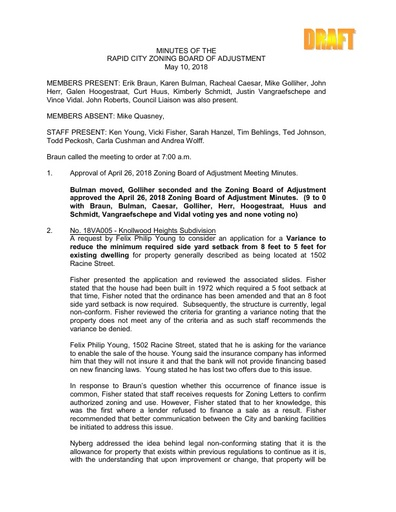 2018 05 10 ZBOA and Planning Commission Minutes