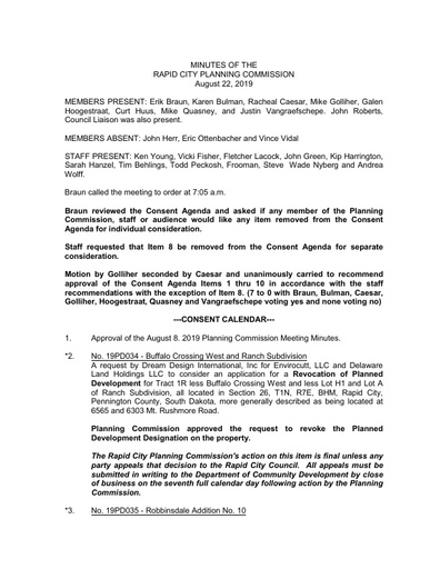 2019 08 22 Planning Commission Minutes