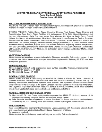 20200128 Airport Board Minutes