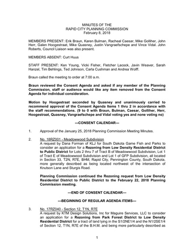 2018 02 08 Planning Commission Minutes