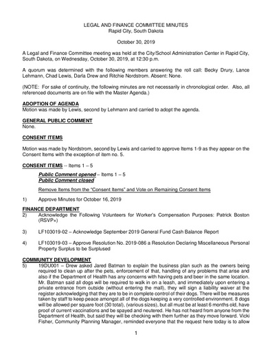 10/30/2019 Legal and Finance Committee Minutes
