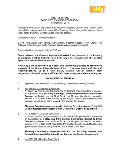 2019 02 21 Planning Commission Minutes