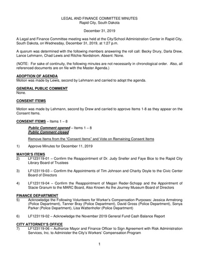 12/31/2019 Legal and Finance Committee Minutes