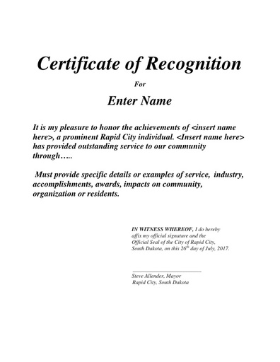 Sample Certificate of Recognition