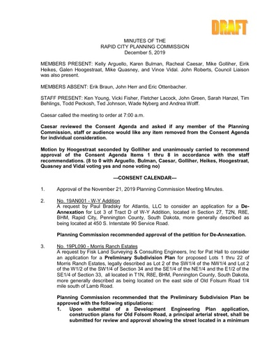 2019 12 05 Planning Commission Minutes