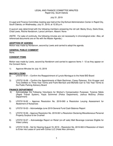 7/31/2019 Legal and Finance Committee Minutes
