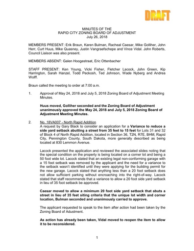 2018 07 26 ZBOA and Planning Commission Minutes
