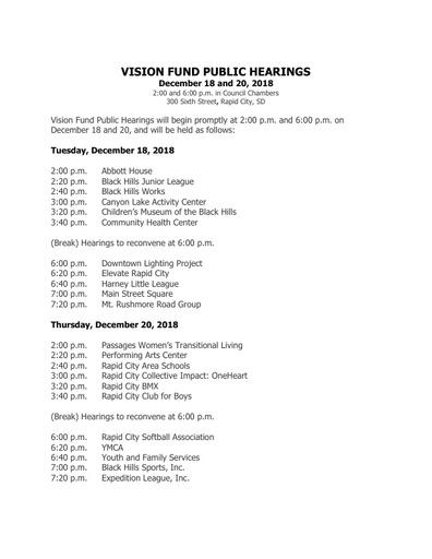 Vision Fund Public Hearing Schedule