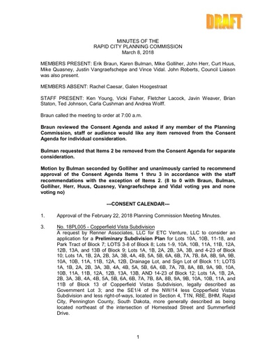 2018 03 08 Planning Commission Minutes