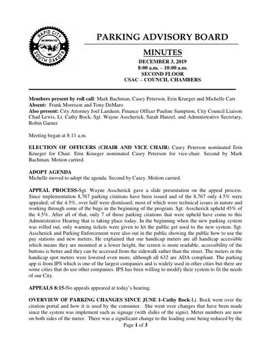 2019, 12/03 Parking Advisory Board Minutes