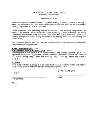 2019 09 10 Special Council Minutes