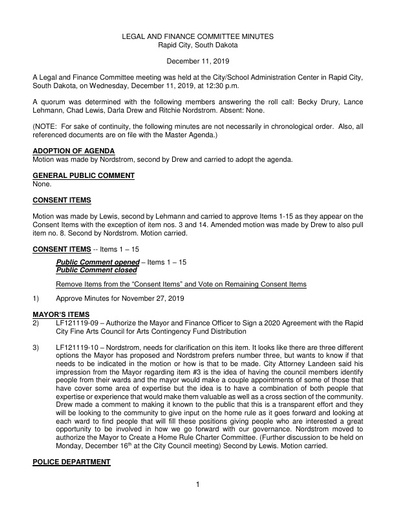 12/11/2019 Legal and Finance Committee Minutes