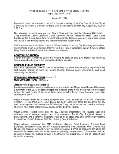 081720 Special Council Minutes