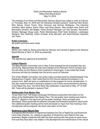Parks & Rec Advisory Board May 12 Minutes