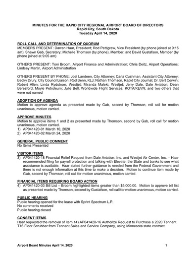 20200414 Airport Board Minutes