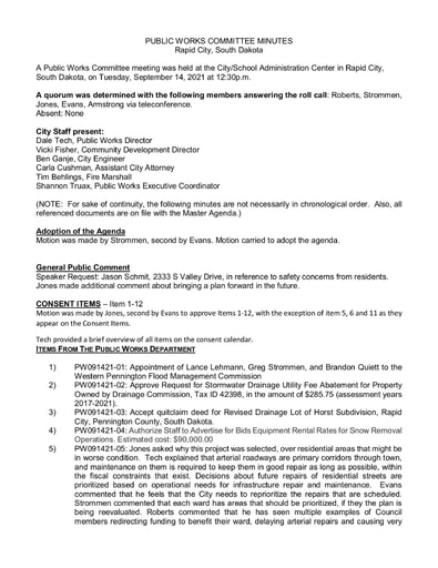 2021, 09/14 Public Works Committee Minutes