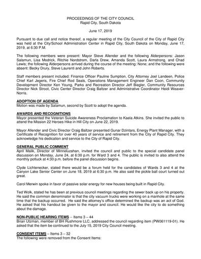 2019 06 17 City Council Minutes