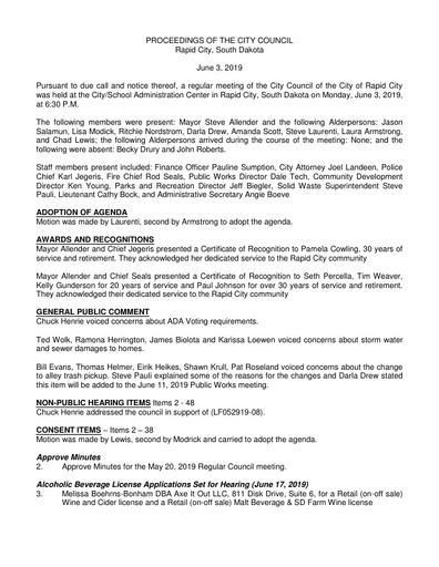 2019 06 03 City Council Minutes