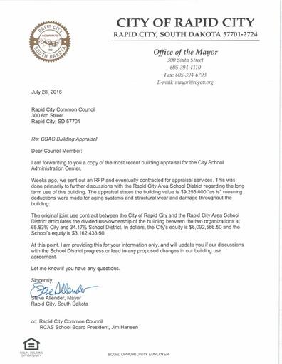 20160728 to City Council re CSAC Building Appraisal
