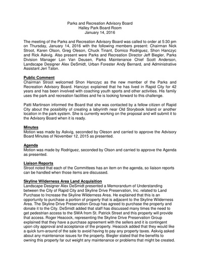 2016 01 14 Parks and Recreation Advisory Board Minutes