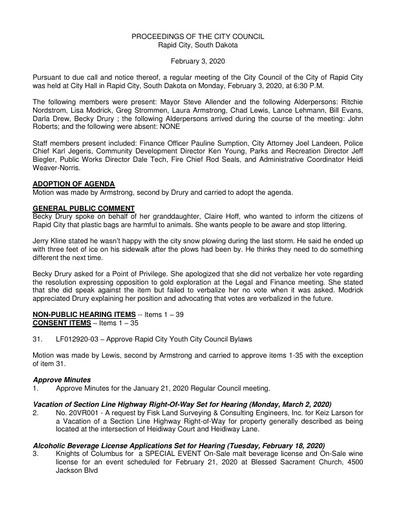2020 02 03 City Council Minutes