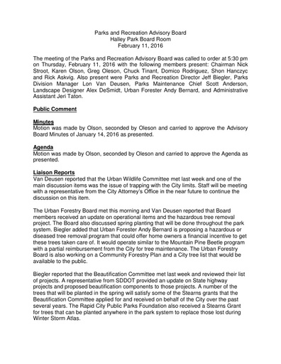 2016 02 14 Parks and Recreation Advisory Board Minutes