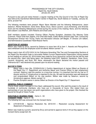 2019 02 04 City Council Minutes