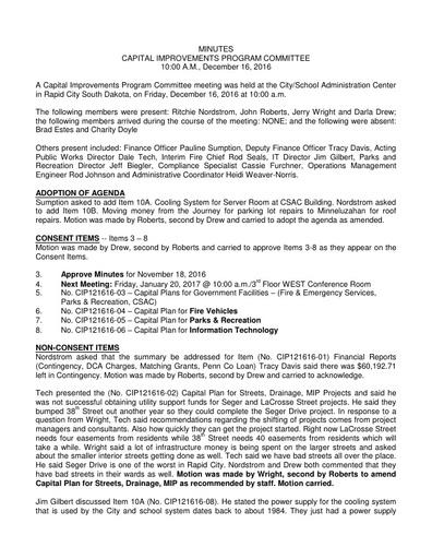 12/16/16 CIP Minutes