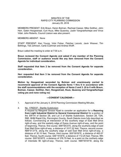 2018 01 25 Planning Commission Minutes