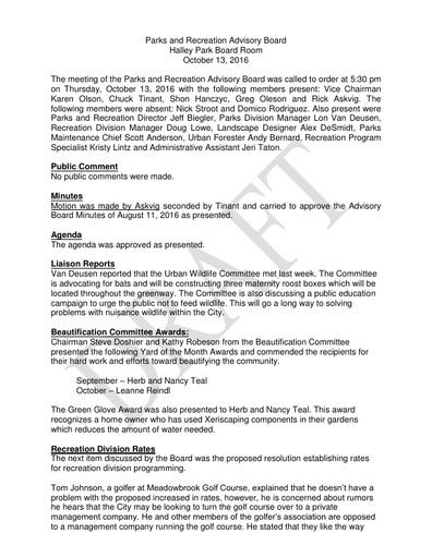 Oct 13 Parks & Rec Advisory Board Minutes